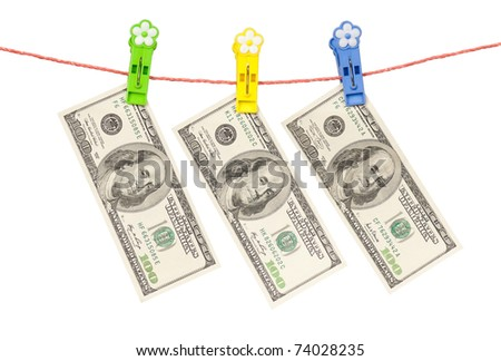 One hundred dollars bill hanging on clothesline isolated on white background - stock photo