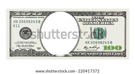 One hundred dollars bill with no face isolated on white, clipping path included - stock photo