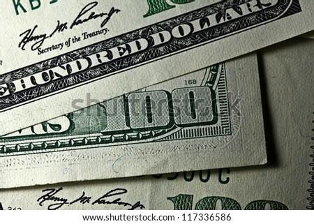 One hundred dollars. Macro image. - stock photo