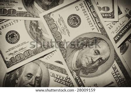 One hundred dollars, money, cash, heap, usa - stock photo