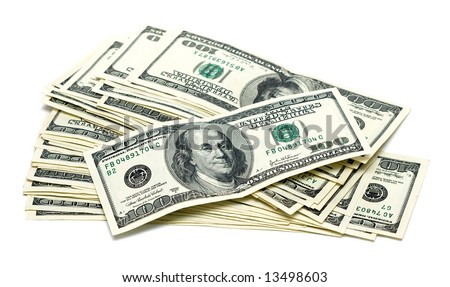 one hundred dollars on white background - stock photo