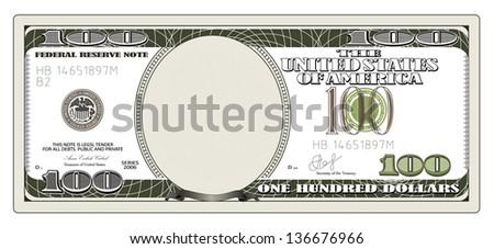 One hundred dollars. Rasterized illustration. Vector version in my portfolio - stock photo