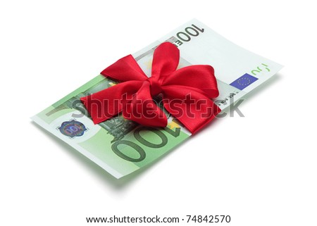 One hundred euro banknote with red bow, isolated on the white background, clipping path included. Full focus. - stock photo