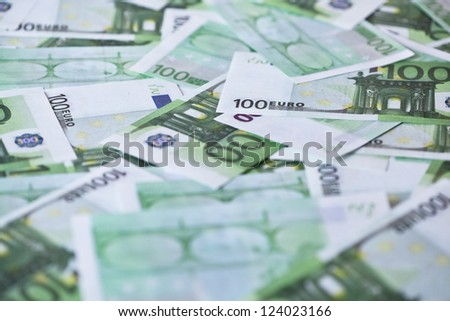 One hundred euro banknotes background - stock photo
