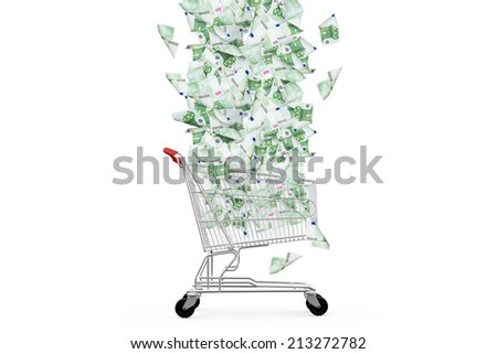 One hundred euro banknotes flying and falling down to shopping cart, isolated on white background. - stock photo