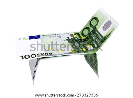 one hundred euro in a lounger with white background