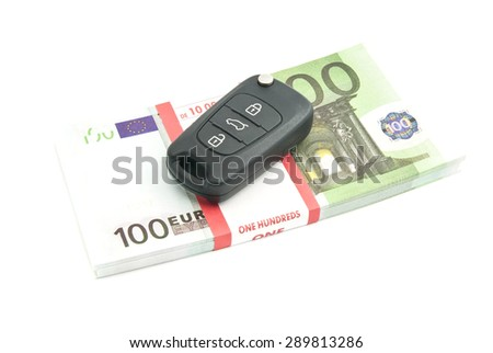 one hundred euros banknotes and car keys on white - stock photo