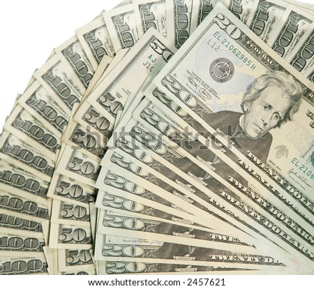one hundred,fifty and twenty dollar bills - stock photo