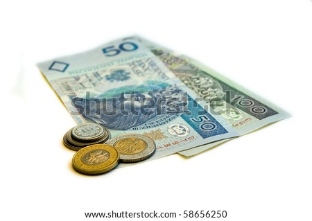 One hundred fifty Polish Ztoty (PLN) on a white background. - stock photo