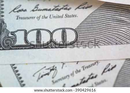 One hundred US dollars banknotes. Close-up view - stock photo