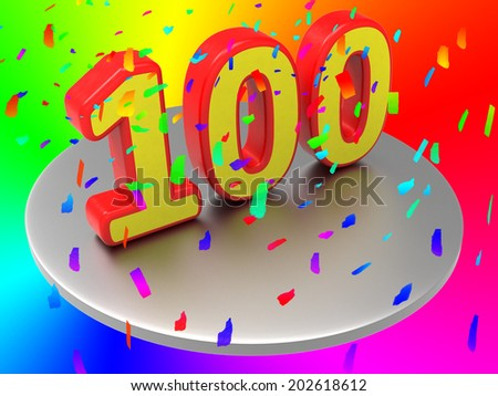 One Hundredth Indicating Happy Anniversary And Party - stock photo