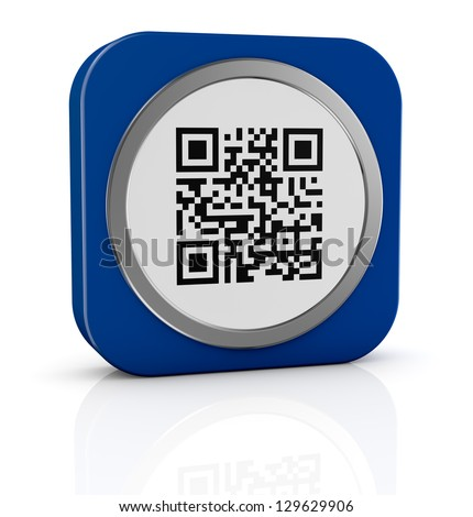 one icon with a qr code (3d render) - stock photo