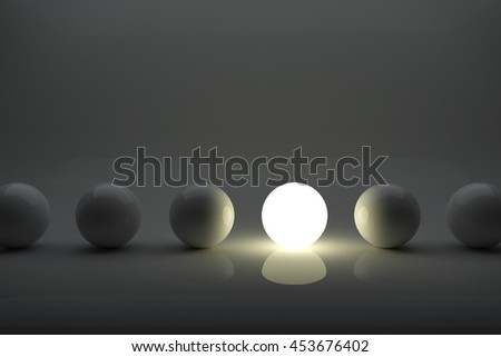 One illuminater ball among grey balls in the row. Iindividuality concept 3D rendering image. - stock photo