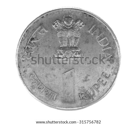one indian rupee coin isolated on white background - stock photo