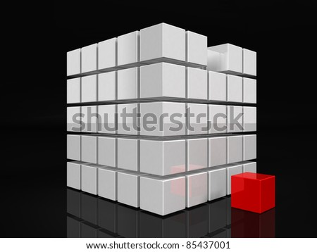 One individuality cube 3d render - stock photo