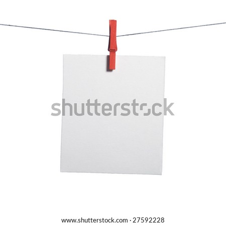 One isolated note paper drying on the rope with clothes-peg