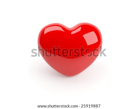 One isolated red heart - stock photo