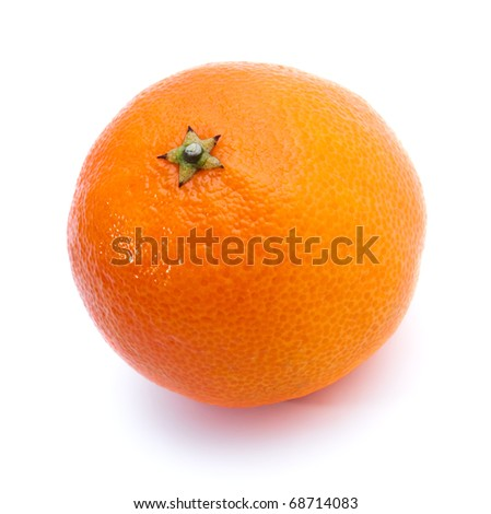 One juicy tangerine isolated on white background
