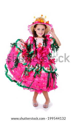 One kid wearing generic caipira clothes as in every Festa Junina or June Festivals in Brazil. - stock photo