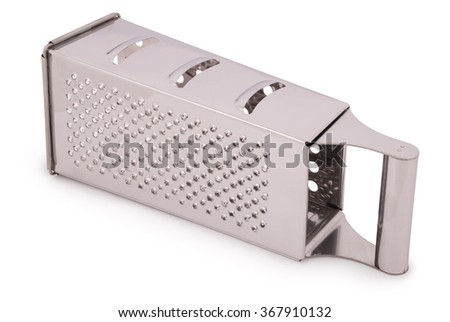 One kitchen metal grater isolated on white. Clipping path included.