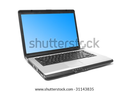 one laptop on the white