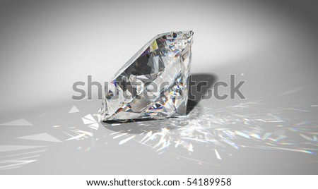 One large diamond with sparkles over gradient background. Extralarge resolution - stock photo