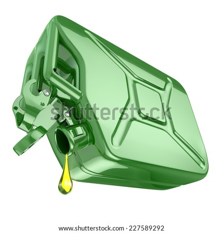 One last drop of fuel from jerrycan. Engine oil and green canister isolated on white background. 3d - stock photo