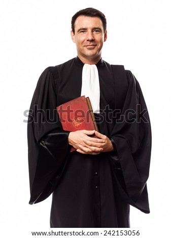 one  lawyer man in studio isolated on white background - stock photo