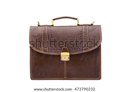 One  leather brown briefcase .Isolated on the white background.Men's business fashion accessories.