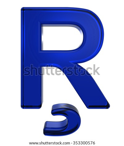 One letter from blue glass alphabet set, isolated on white. Computer generated 3D photo rendering.