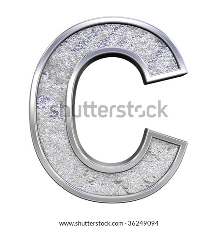 One letter from chrome cast alphabet set, isolated on white. Computer generated 3D photo rendering.