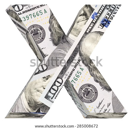 One letter from dollar bill alphabet set isolated over white. Computer generated 3D photo rendering. - stock photo