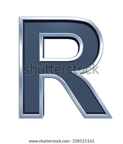 One letter from grey glass with chrome frame alphabet set, isolated on white. Computer generated 3D photo rendering.