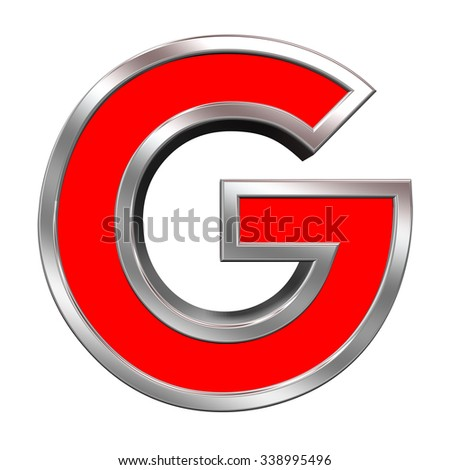 One letter from red with chrome frame alphabet set, isolated on white. Computer generated 3D photo rendering. - stock photo