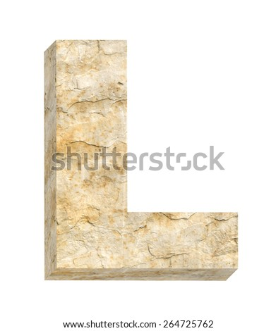 One letter from sandstone alphabet set isolated over white. Computer generated 3D photo rendering. - stock photo