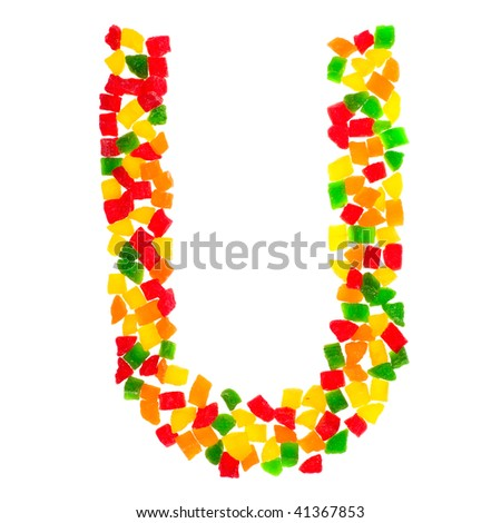 One letter from the dried multi-color fruits alphabet isolated on white - stock photo