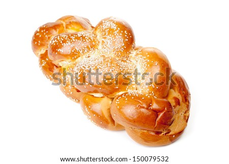 One light braided challah isolated on white background - stock photo