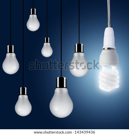 One Light bulb turn on. Concept for outstanding key person or creative idea