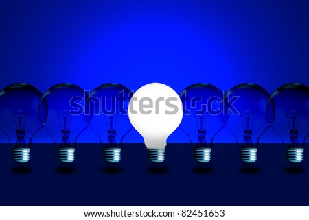 One light bulb turn on with blue color background.
