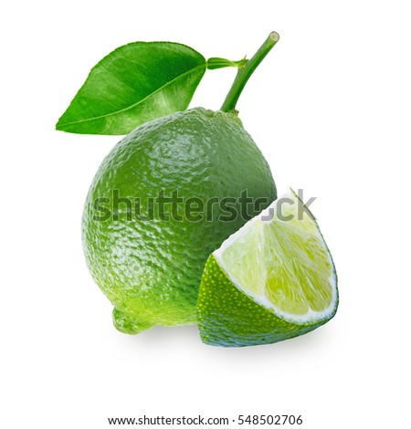 One lime fruit with leaf and a slice isolated on white background