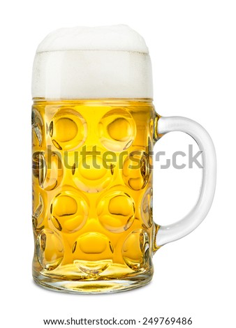 one liter of fresh oktoberfest beer on white background - stock photo