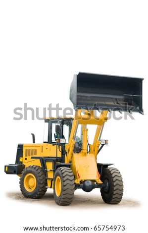 One Loader excavator construction machinery equipment isolated - stock photo