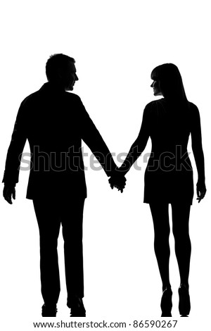 one lovers caucasian couple man and woman walking hand in hand in studio silhouette isolated on white background - stock photo
