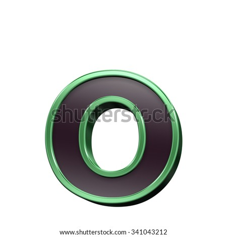 One lower case letter from black with green shiny frame alphabet set, isolated on white. Computer generated 3D photo rendering.