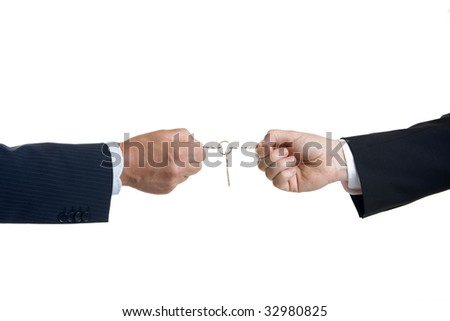 One male hand give another male hand keys