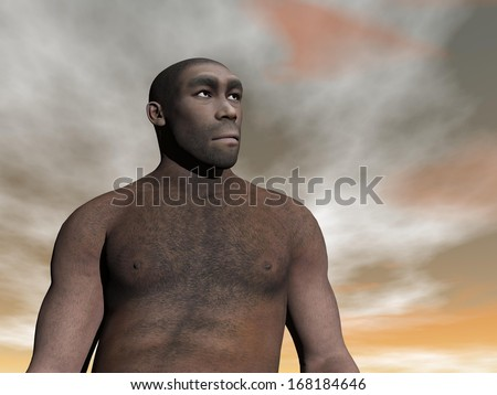 One male homo erectus bust in grey and brown cloudy day - stock photo