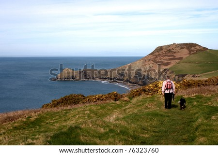 One man and his dog walking on the coastal path in Wales - stock photo