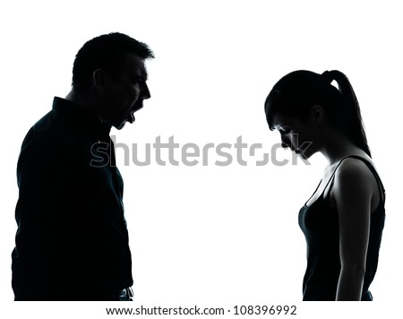 one man and teenager girl dispute conflict  in silhouette indoors isolated on white background - stock photo