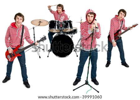 One man band isolated on white - stock photo