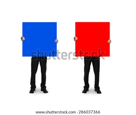 One man holding blank blue board, another holding blank red board, with white background. - stock photo